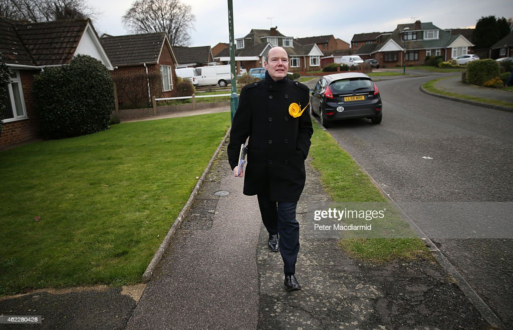 Liberal Democrat candidate Jasper Gerard walks along a residential street as he campaigns for votes in the Maidstone and the Weald constituency on January 26, 2015 in Maidstone, England. Campaigning for the May 7th general election is well under way with just over 100 days to go to polling day.