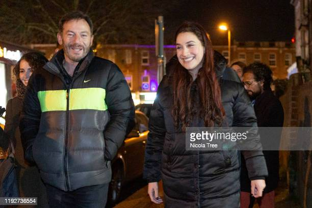Liberal Democrat candidate Luciana Berger campaigns with actor and producer Jason Isaacs in her constituency Finchley and Golders Green on December...