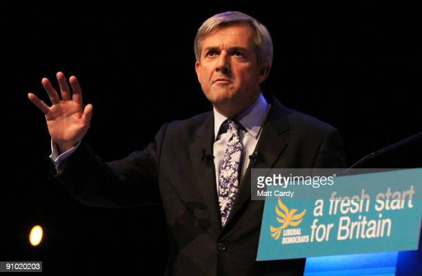 Liberal Democrat Chris Huhne the party's home affairs spokesman delivers his key note speech at the Liberal Democrat Conference on September 22 2009...