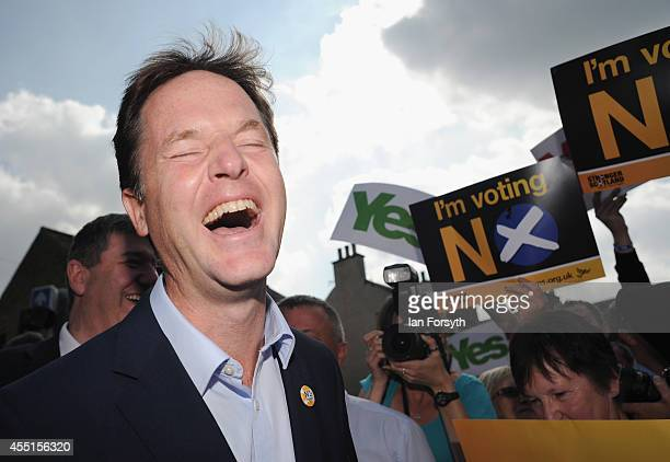 Liberal Democrat Deputy Prime Minister Nick Clegg reacts as he speaks to 'No' campaign supporters about the Scottish referendum during a visit to the...