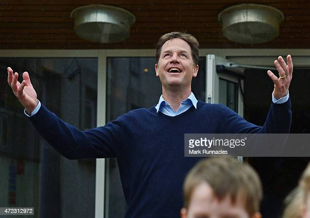 Liberal Democrat Deputy Prime Minister Nick Clegg visits Westerton Nursery in Bearsden on the eve of the General Election on May 06 2015 in Glasgow...