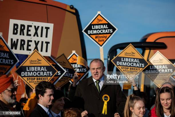 Liberal Democrat Ed Davey meets activists during a rally on December 11 2019 in Esher England Leaders of all the British political parties have...