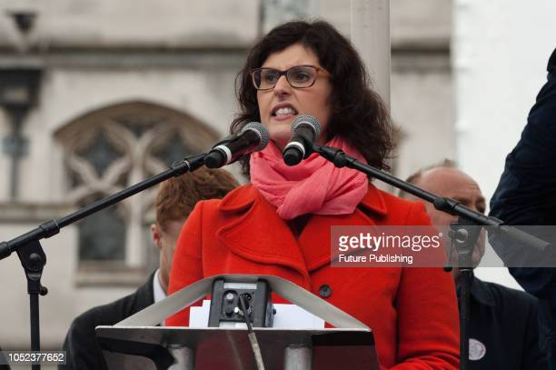 Liberal Democrat Education Spokesperson Layla Moran addresses trade unionists further education staff and students during a demonstration in...