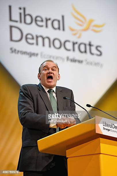 Liberal Democrat Energy Secretary Ed Davey addresses the Liberal Democrat Autumn conference on October 7 2014 in Glasgow Scotland The energy...