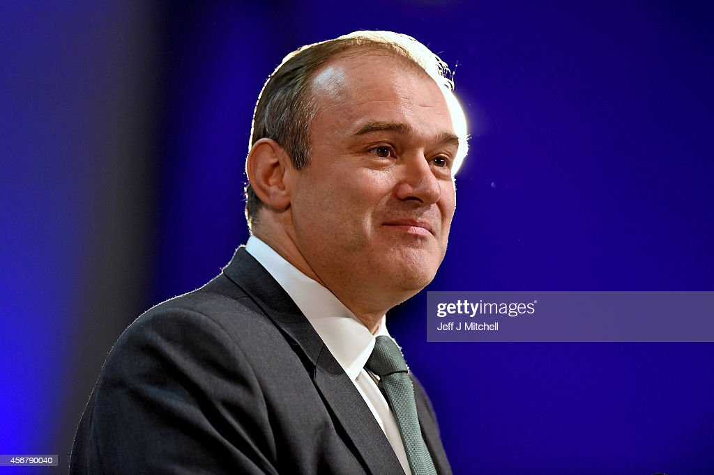 Liberal Democrat Energy Secretary Ed Davey addresses the Liberal Democrat Autumn conference on October 7, 2014 in Glasgow, Scotland. The energy secretary told the conference there will be a major tax cut for energy efficiency in the party's pre-manifesto.