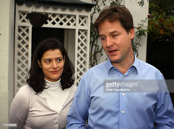 Liberal Democrat Home Affairs spokesman Nick Clegg stands with his wife Miriam as he speaks to reporters at his home on October 16 2007 in London...