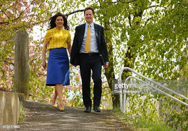 Liberal Democrat leader and Deputy Prime Minister Nick Clegg and his wife Miriam Gonzalez Durantez arrive at Hall Park Hill Community Centre to cast...