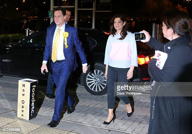 Liberal Democrat leader and Deputy Prime Minister Nick Clegg and his wife Miriam Gonzalez Durantez arrive at his constituency declaration at the...