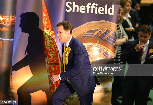 Liberal Democrat leader and Deputy Prime Minister Nick Clegg arrives for his constituency declaration at the English Institute of Sport on May 8 2015...