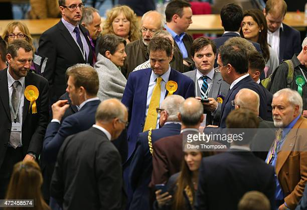 Liberal Democrat leader and Deputy Prime Minister Nick Clegg looks dejected as he attends his constituency declaration at the English Institute of...