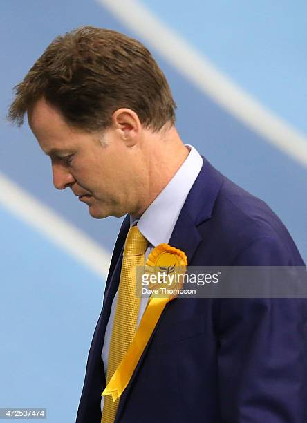 Liberal Democrat leader and Deputy Prime Minister Nick Clegg looks dejected as they leave his constituency declaration at the English Institute of...