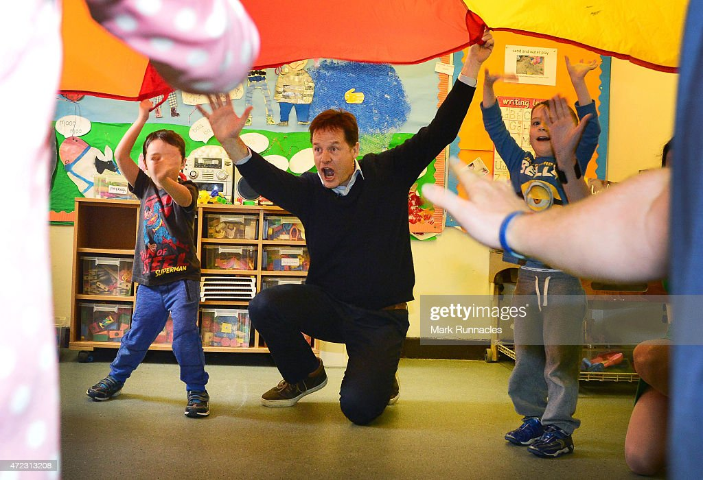 Liberal Democrat leader and Deputy Prime Minister Nick Clegg visit Westerton Nursery in Bearsden, on the eve of the General Election on May 06, 2015 in Glasgow, Scotland. Britain's political leaders are campaigning in a final day's push for votes ahead of what is predicted to be the closest General Election for a generation.