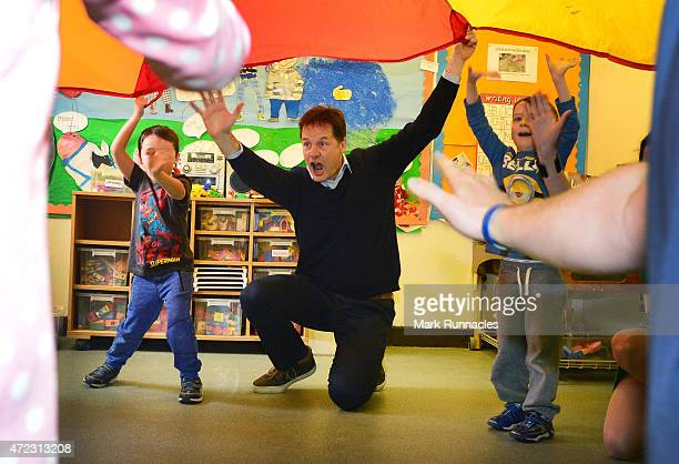 Liberal Democrat leader and Deputy Prime Minister Nick Clegg visit Westerton Nursery in Bearsden on the eve of the General Election on May 06 2015 in...