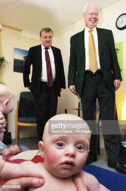 Liberal Democrat leader Charles Kennedy and Scottish Liberal Democrat leader Jim Wallace in a residence at the Fala Court flats
