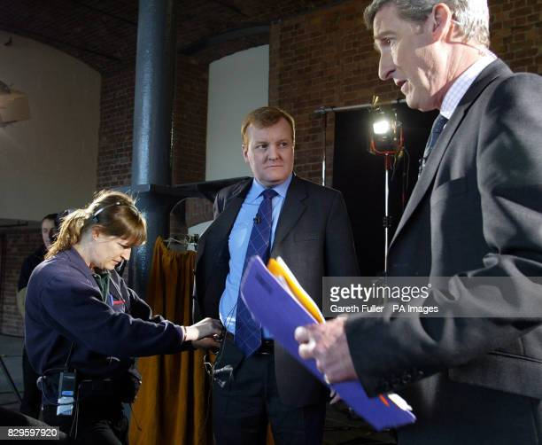 Liberal Democrat leader Charles Kennedy prepares for a BBC interview with Jeremy Paxman on the day the party issues its crime and policing plans