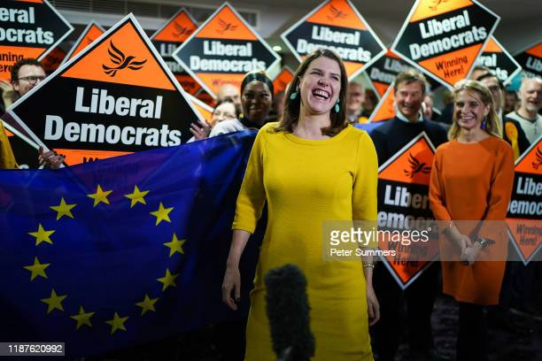 Liberal Democrat leader Jo Swinson addresses activists alongside parliamentary candidate Wera Hobhouse at a campaign rally on December 10 2019 in...