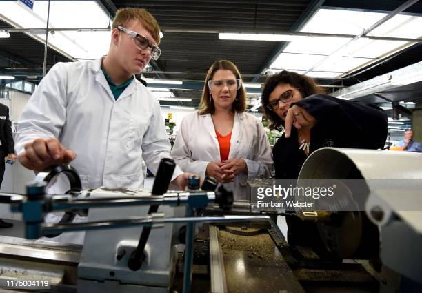 Liberal Democrat leader Jo Swinson and 2 spokesperson for Education chat to student Emmeran Carl in the manufacturing workshop during a visit to The...