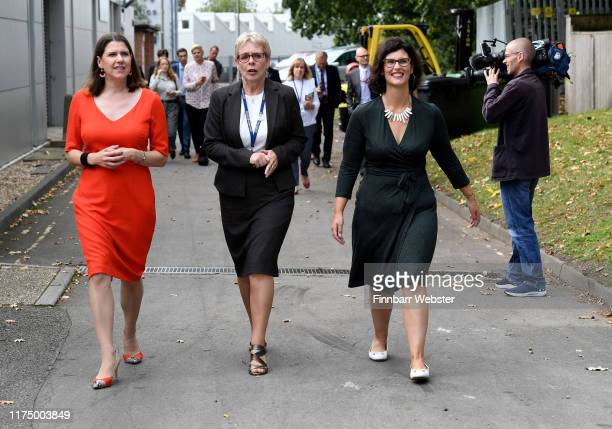 Liberal Democrat leader Jo Swinson and Layla Moran spokesperson for Education with Principle Diane Grannell centre during a visit to The Bournemouth...