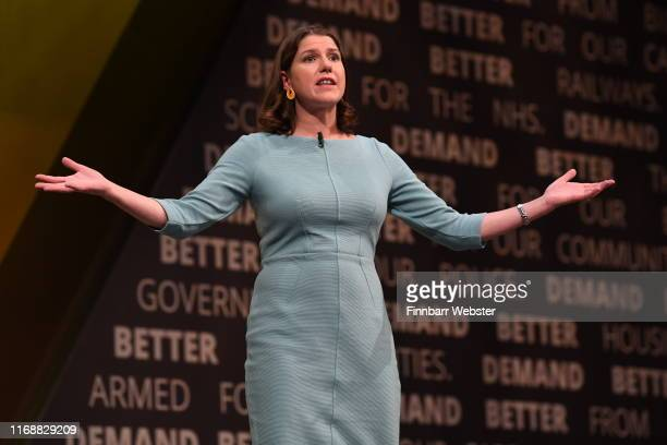 Liberal Democrat leader Jo Swinson delivers her first keynote speach at the Liberal Democrat Party Conference at the Bournemouth International Centre...