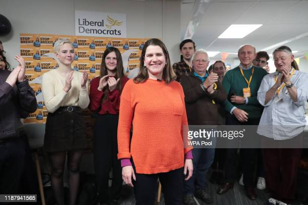 Liberal Democrat leader Jo Swinson during a visit to a Volunteer Hub while on the General Election campaign trail on December 11 2019 in London...