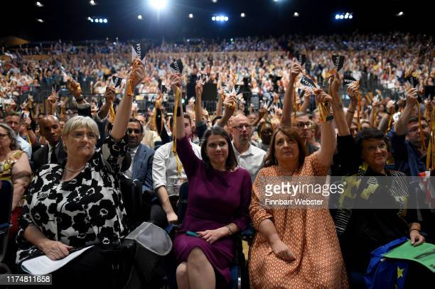 Liberal Democrat leader Jo Swinson during the vote to rescind article 50 at the Liberal Democrat Party Conference at the Bournemouth International...