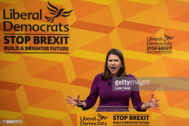 Liberal Democrat Leader Jo Swinson gives a speech entitled 'The Problem With Boris Johnson' at Prince Philip House on November 28 2019 in London...