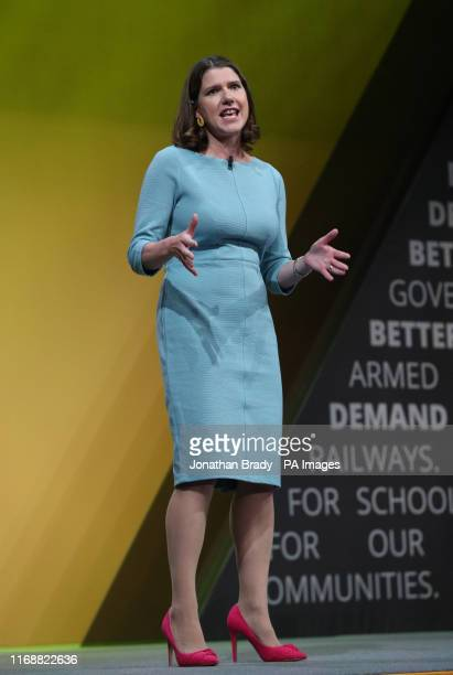 Liberal Democrat leader Jo Swinson makes a speech during the Liberal Democrats autumn conference at the Bournemouth International Centre in...