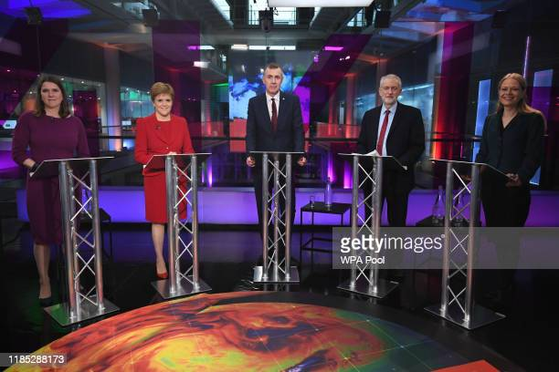 Liberal Democrat leader Jo Swinson, SNP leader Nicola Sturgeon, Plaid Cymru leader Adam Price, Labour Party leader Jeremy Corbyn and Green Party...