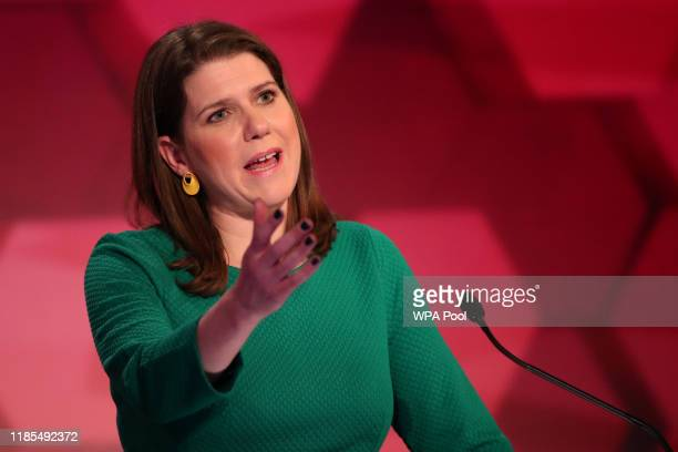 Liberal Democrat leader Jo Swinson speaks during a general election debate on November 29 2019 in Cardiff Wales