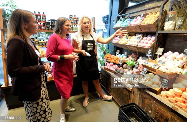 Liberal Democrat leader Jo Swinson with Lush shop manager Charlotte Mills, right during her visit to the shop in Bournemouth town centre during the...