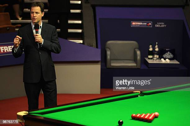 Liberal Democrat leader, Nick Clegg addresses the crowd during the semi final of the Betfred.com World Snooker Championships at The Crucible Theatre...