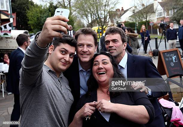 Liberal Democrat leader Nick Clegg and local Liberal Democrat candidate Tom Brake pose for a selfie photograph after a visit to an art gallery on...