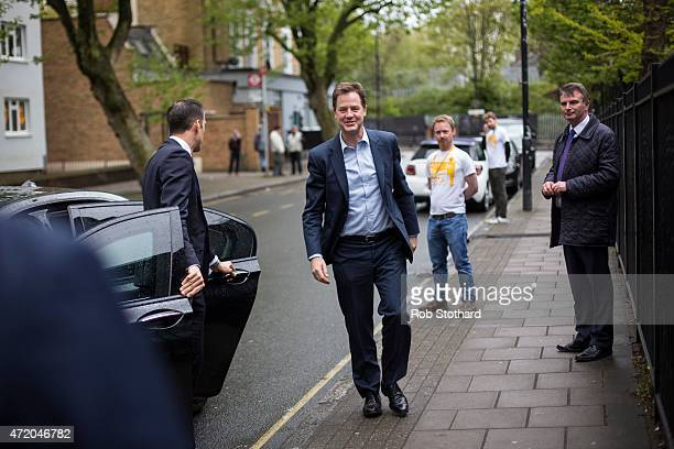 Liberal Democrat leader Nick Clegg arrives at Galleywall Road Tenants Hall to give a speech alongside Simon Hughes the incumbent Liberal Democrat MP...