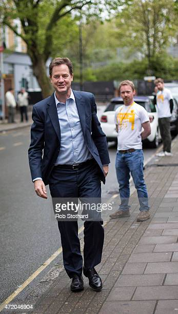 Liberal Democrat leader Nick Clegg arrives at Galleywall Road Tenants Hall to give a speech alongside Simon Hughes, the incumbent Liberal Democrat MP...