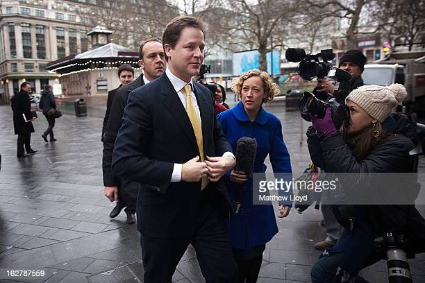 Liberal Democrat Leader Nick Clegg arrives at the LBC studios on February 27 2013 in London England Nick Clegg made his weekly appearance on the LBC...