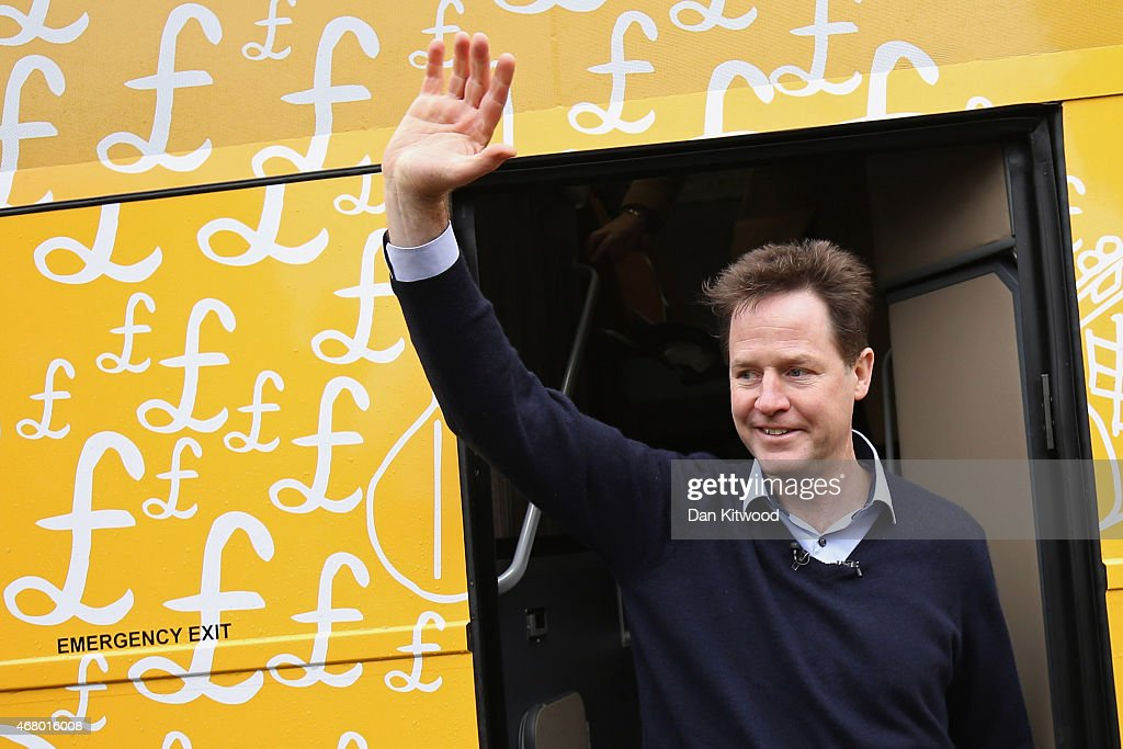 Liberal Democrat leader Nick Clegg arrives to speak to activists as he launches the party's General Election 2015 campaign on March 29, 2015 in Abingdon, England. The Liberal Democratic party started it's election campaign in the Oxford West and Abingdon consituancy today where Mr Clegg unveiled the Liberal Democrat election battle bus and met with candidate for Oxford West and Abingdon Layla Moran.