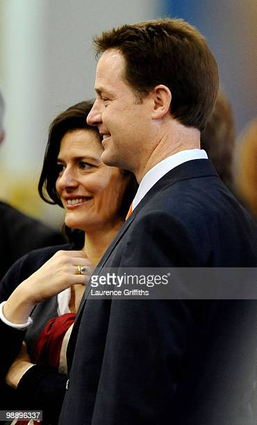 Liberal Democrat Leader Nick Clegg arrives with wife Miriam Gonzalez Durantez to his constituency declaration at Ponds Forge International Hall on...