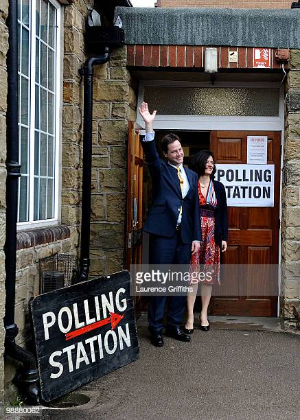 Liberal Democrat Leader Nick Clegg casts his vote with wife Miriam Gonzalez Durantez at Bents Green Methodist Church on May 6 2010 in Sheffield...