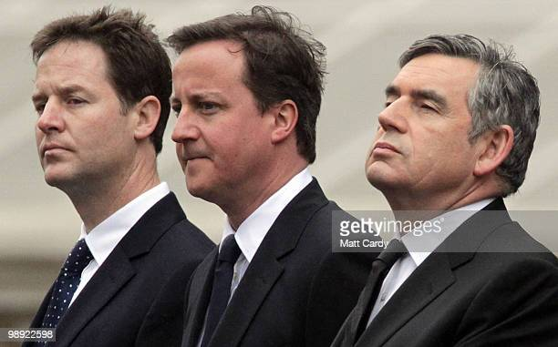 Liberal Democrat leader Nick Clegg Conservative Party Leader David Cameron and Labour Party Leader and Prime Minister Gordon Brown attend the VE Day...
