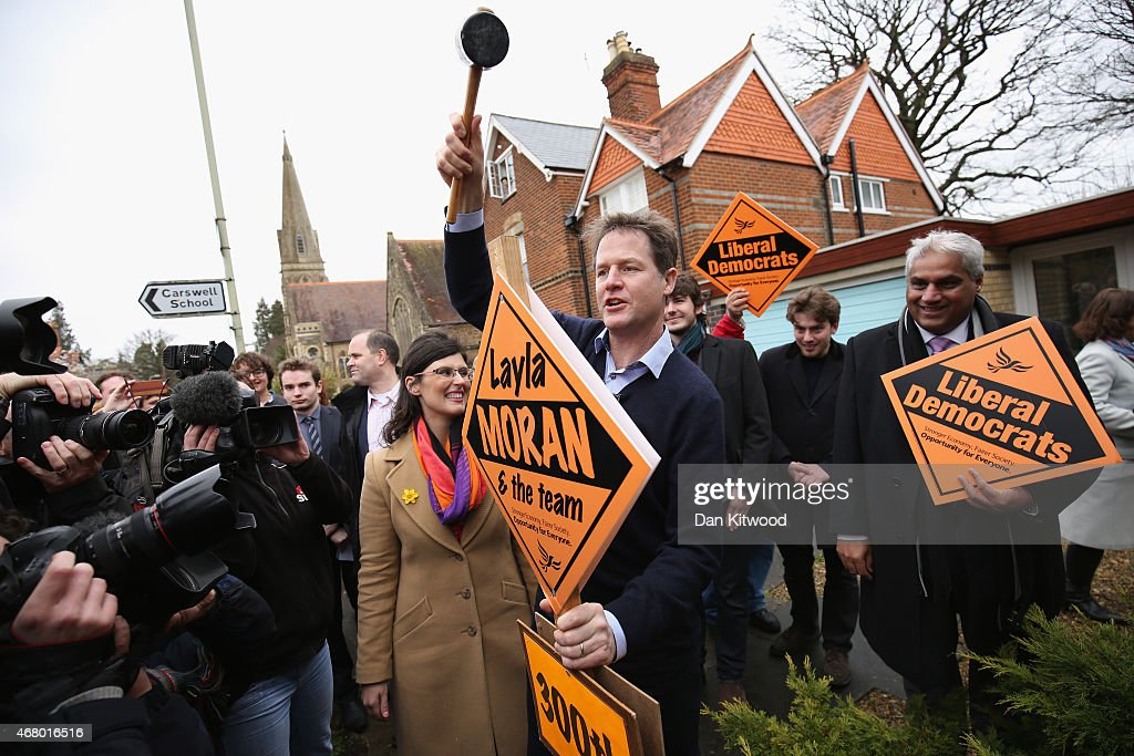 Liberal Democrat leader Nick Clegg hammers in the 300th Lib Dem stake board after speaking to activists as he launches the party's General Election 2015 campaign on March 29, 2015 in Abingdon, England. The Liberal Democratic party started it's election campaign in the Oxford West and Abingdon consituancy today where Mr Clegg unveiled the Liberal Democrat election battle bus and met with candidate for Oxford West and Abingdon Layla Moran.