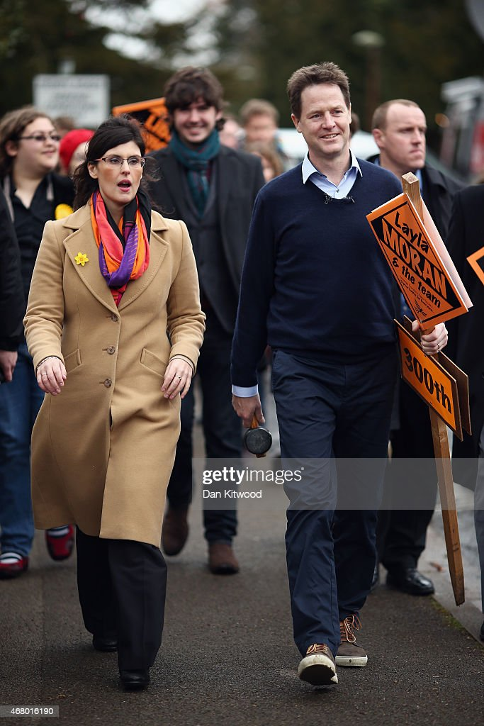 Liberal Democrat leader Nick Clegg heads off to hammer in the 300th Lib Dem stake board with Oxford West and Abingdon Layla Moran after speaking to activists as he launches the party's General Election 2015 campaign on March 29, 2015 in Abingdon, England. The Liberal Democratic party started it's election campaign in the Oxford West and Abingdon consituancy today where Mr Clegg unveiled the Liberal Democrat election battle bus and met with candidate for Oxford West and Abingdon Layla Moran.