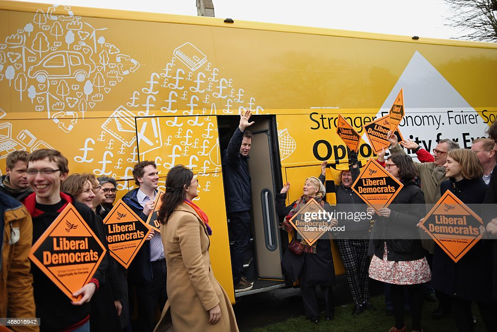 Liberal Democrat leader Nick Clegg leaves after speaking to activists as he launched the party's General Election 2015 campaign on March 29, 2015 in Abingdon, England. The Liberal Democratic party started it's election campaign in the Oxford West and Abingdon consituancy today where Mr Clegg unveiled the Liberal Democrat election battle bus and met with candidate for Oxford West and Abingdon Layla Moran.