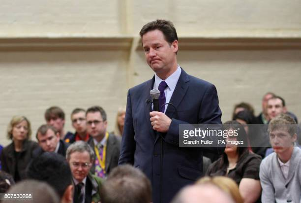 Liberal Democrat leader Nick Clegg makes a speech the the congregation of the Life Church in Burnley Lancashire during a General Election Campaign...