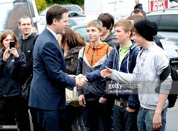 Liberal Democrat Leader Nick Clegg meets young supporters before casting his vote at Bents Green Methodist Church on May 6 2010 in Sheffield...