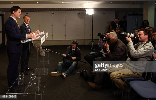 Liberal Democrat leader Nick Clegg speaks as he outlines his party's manifesto expenditure during a press conference with Chair of the Liberal...