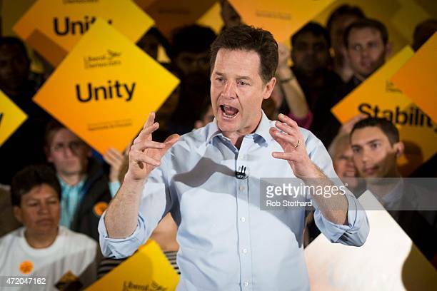 Liberal Democrat leader Nick Clegg speaks at Galleywall Road Tenants Hall on May 3 2015 in London England Britain goes to the polls to elect a new...