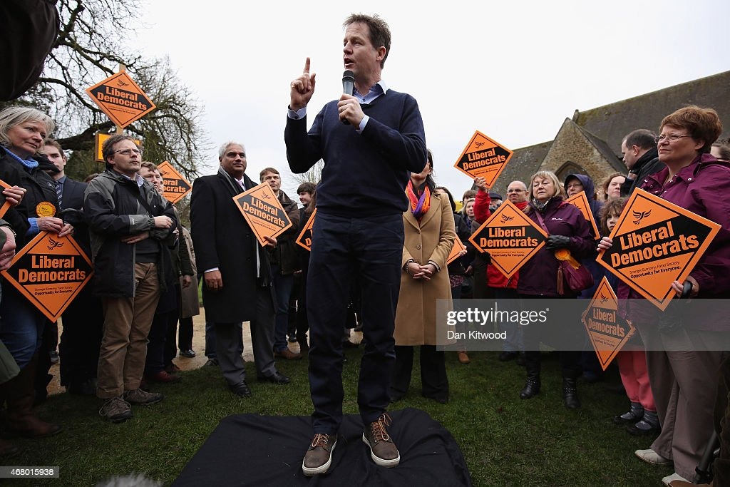 Liberal Democrat leader Nick Clegg speaks to activists as he launches the party's General Election 2015 campaign on March 29, 2015 in Abingdon, England. The Liberal Democratic party started it's election campaign in the Oxford West and Abingdon consituancy today where Mr Clegg unveiled the Liberal Democrat election battle bus and met with candidate for Oxford West and Abingdon Layla Moran.