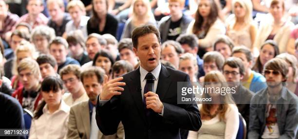 Liberal Democrat leader Nick Clegg speaks to students at Oxford Brookes University on April 28 2010 in Oxford England on April 28 2010 in London...