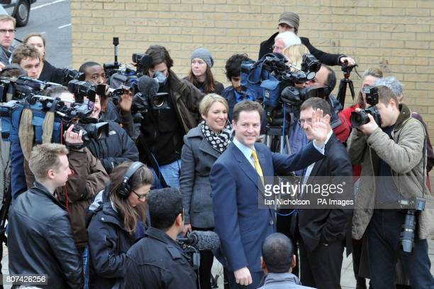 Liberal Democrat leader Nick Clegg waves during a visit to party activists in Finchley where he launched his party's election battle bus