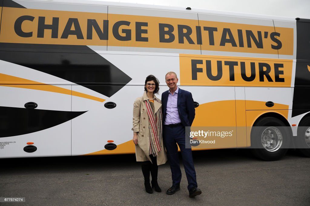 Liberal Democrat leader Tim Farron and Liberal Democrat candidate for the constituency of Oxford West and Abingdon, Layla Moran stand next to the Liberal Democrat 'Battle Bus' after a campaign event on May 3, 2017 in Kidlington, a village outside of Oxford, England. The country goes back to the polls for the second time in two years as a general election is held on June 8.